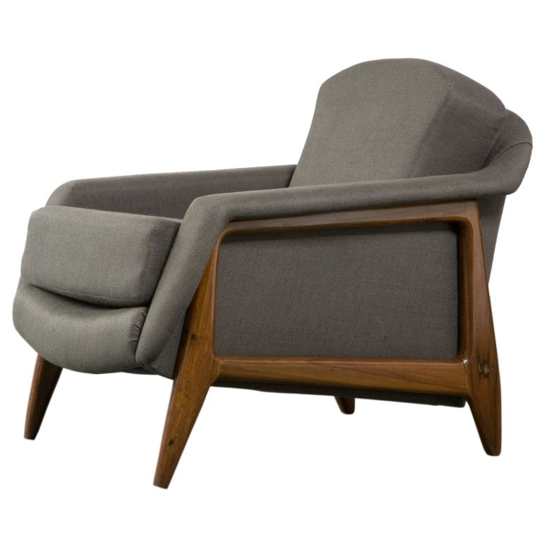 Stella  Lounge Chair by Sergio Rodrigues is part of Furniture design modern - View this item and discover similar  for sale at 1stdibs  'Stella' lounge chair with wood frame and light green upholstery  Designed by Sergio Rodrigues for Oca, Brazil, 1956  (seat height 18 5)