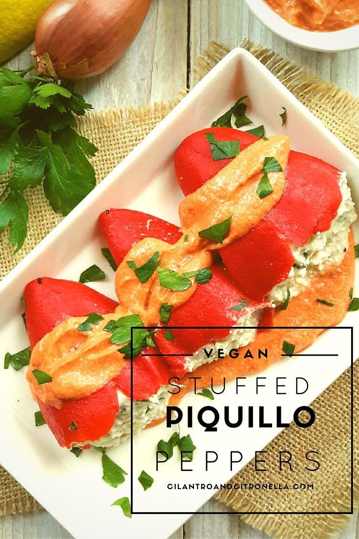 Piquillo peppers from Spain make a great appetizer when stuffed and served in a creamy tomato sauce. They have a great smoky flavor and are vegan-friendly!