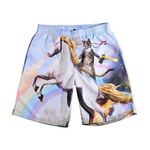 9b66a3fd2a Men's Funny Cat Riding Unicorn with Gun Swim Trunks Boardshort Beach Shorts