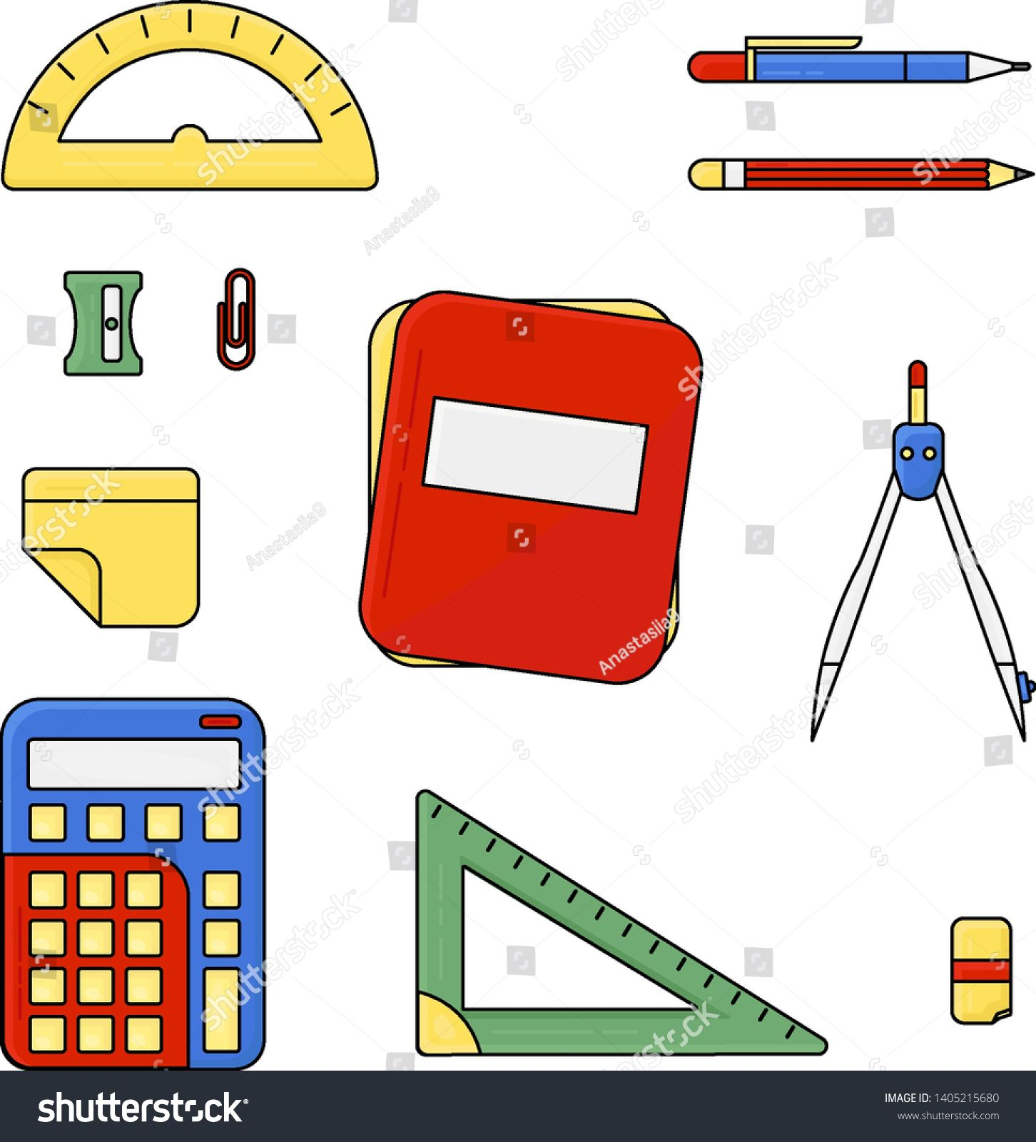 School vector objects collection. Flat color school icons