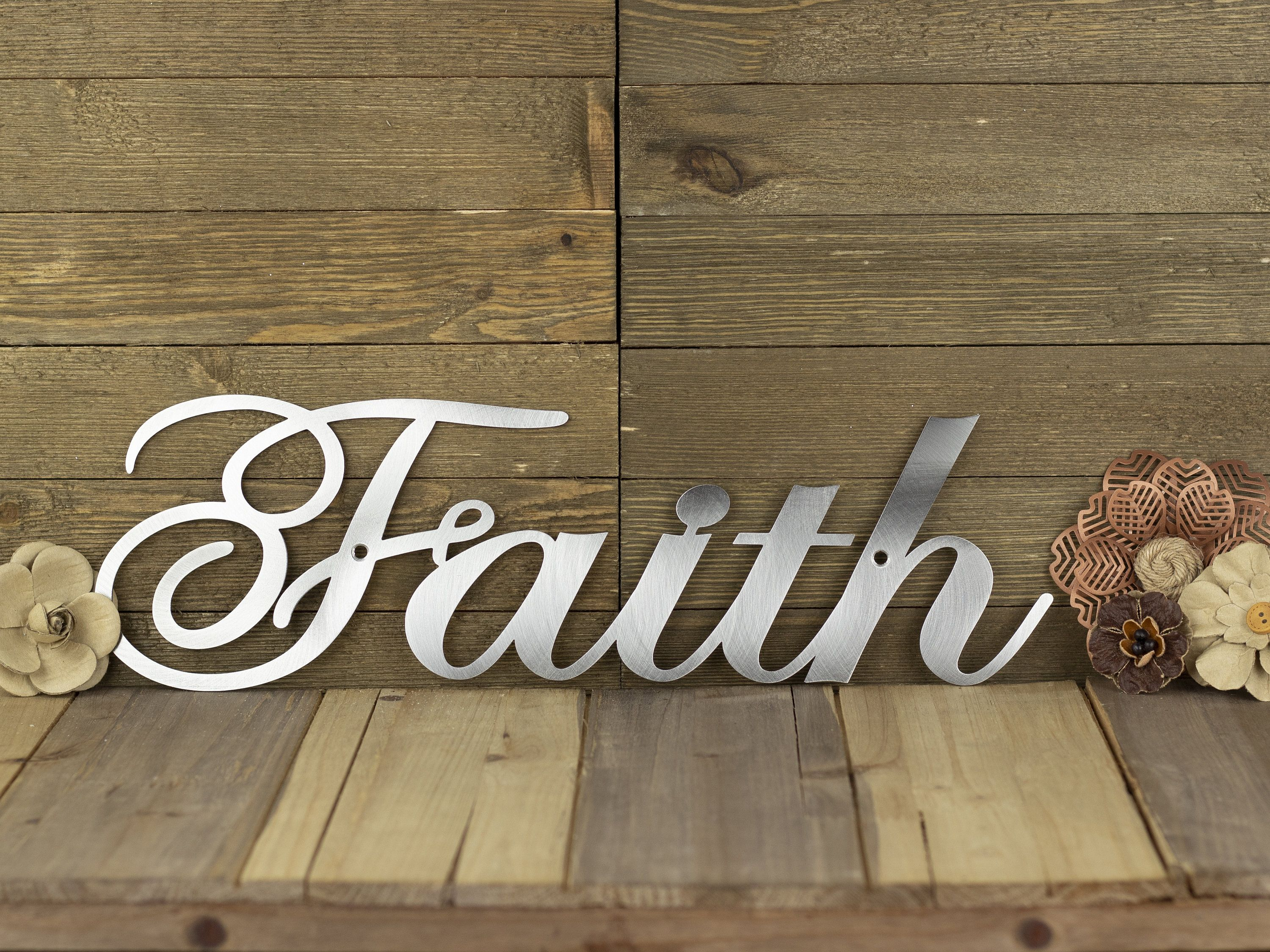 Laser Cut Metal Signs >> Faith Sign Metal Wall Art Christian Decor Religious Decor