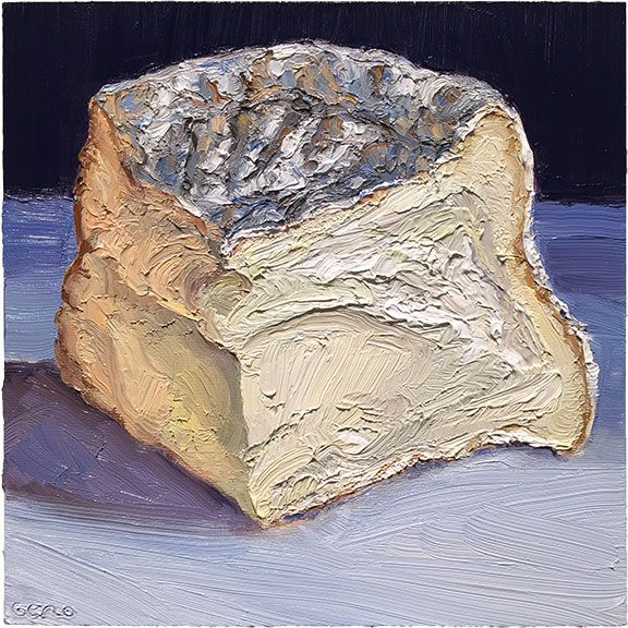 """""""Merry Goat Round"""" #cheeseportrait #painting  This is an incredibly light and delicious creamy goat's milk cheese that ripens from the soft rind inwards. It comes from the guys at Firefly Farms in Maryland.  Prints available at :http://mikegeno.com/catalog/print_pages/cheese/Merry_Goat_Round_matted_PRINT.htm #cheeseart #cheese #art #foodart"""