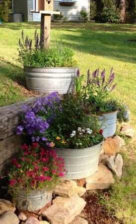 Container Garden You Could Use Cheap Tubs From Big Lots And Spray Paint ·  Galvanized PlantersGalvanized MetalRustic ...