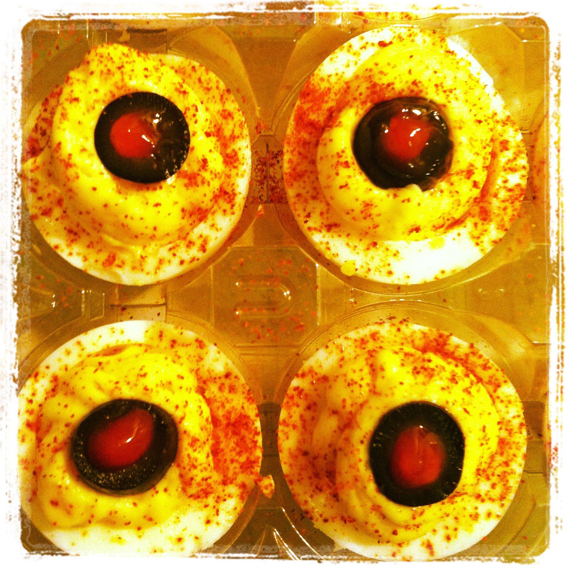 """""""Bloodshot Eyeballs"""" for Halloween Deviled eggs, olive"""