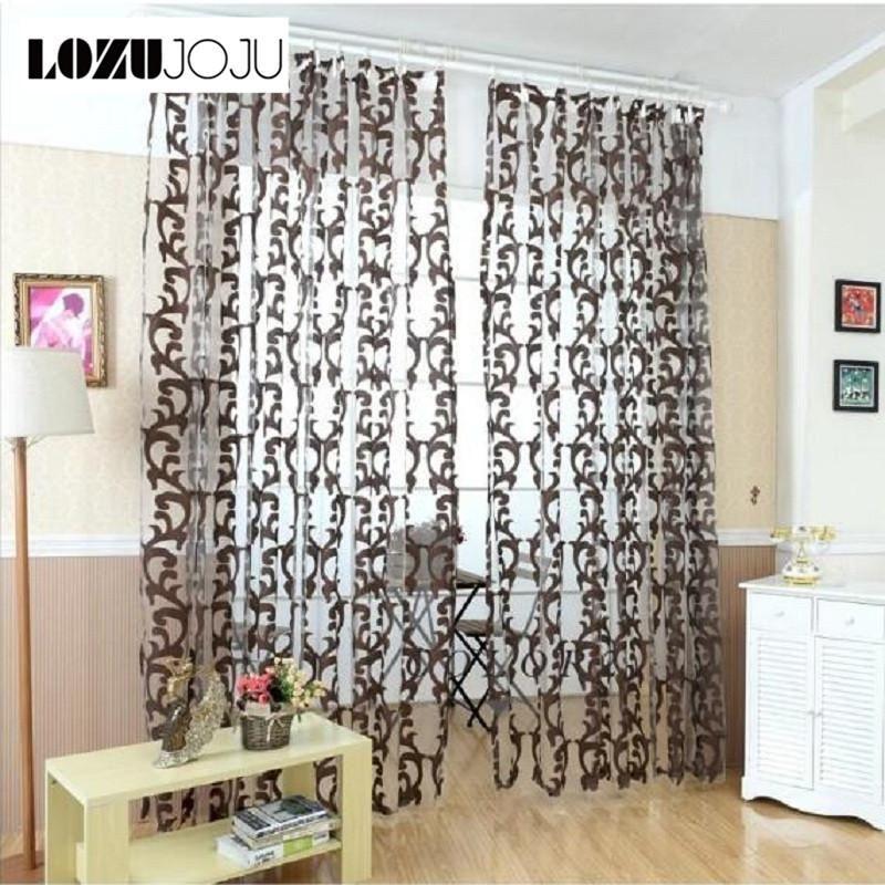 LOZUJOJU Luxury European Style Tulle Curtains Organza Jacquard Fabrics For Bedroom Window Treatments Purple Green Black