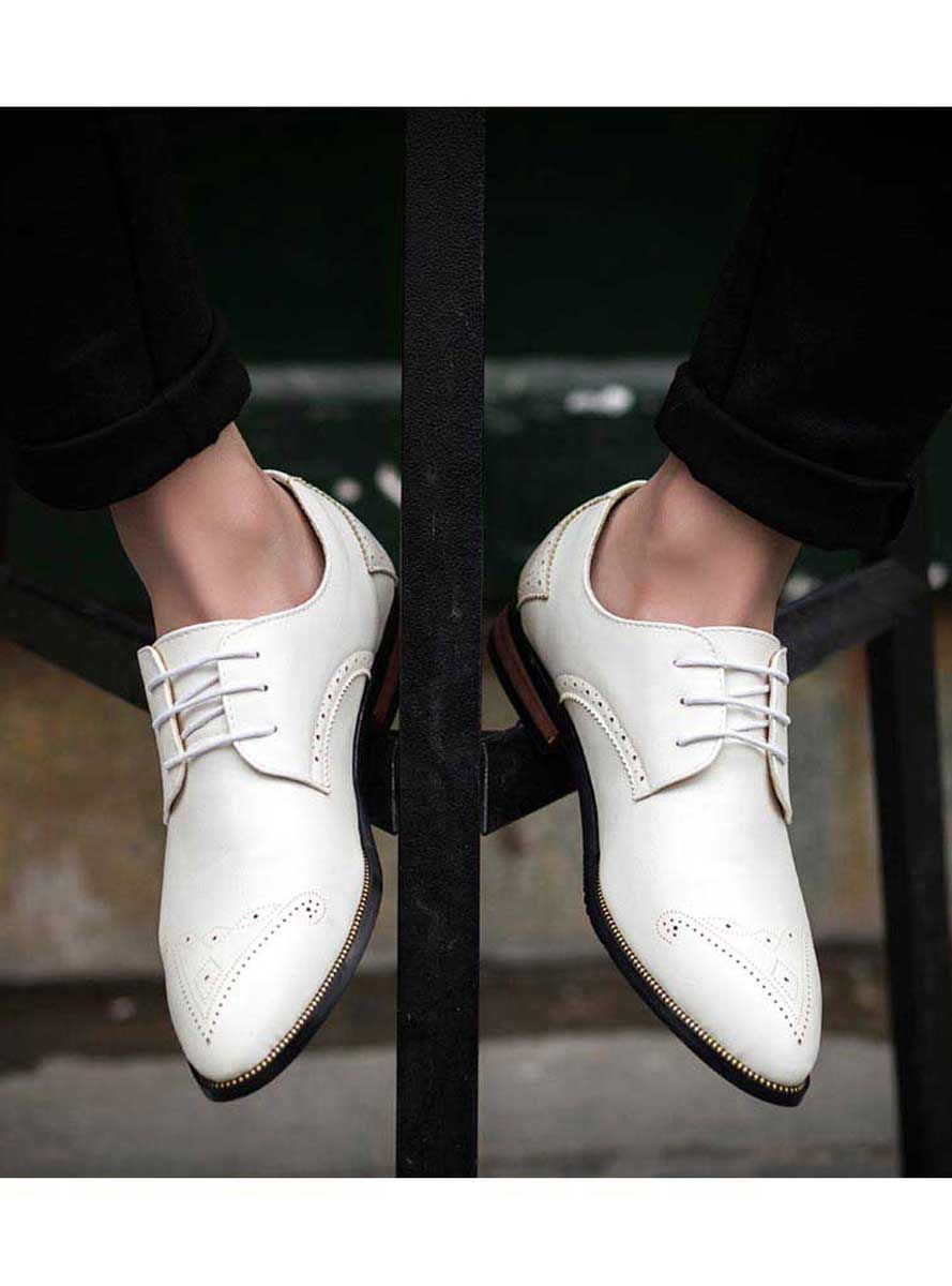 White Leather Derby Brogue Dress Shoe Leather Brogues Dress Shoes Men Dress Shoes [ 1200 x 889 Pixel ]