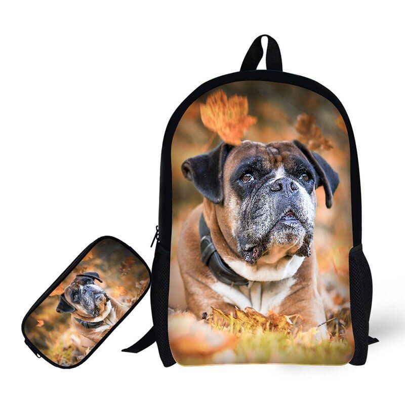 Children School Bags with Pencil Case Pet Dog Printing School Backpack for Boys Girls SchoolbagPenc