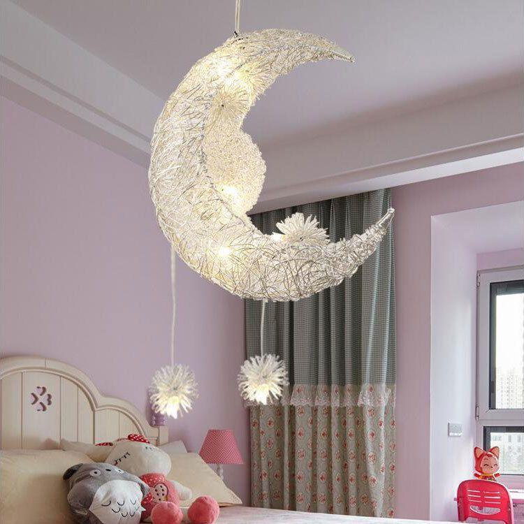 Mond Sterne LED Pendelleuchte Kronleuchter Deckenleuchte