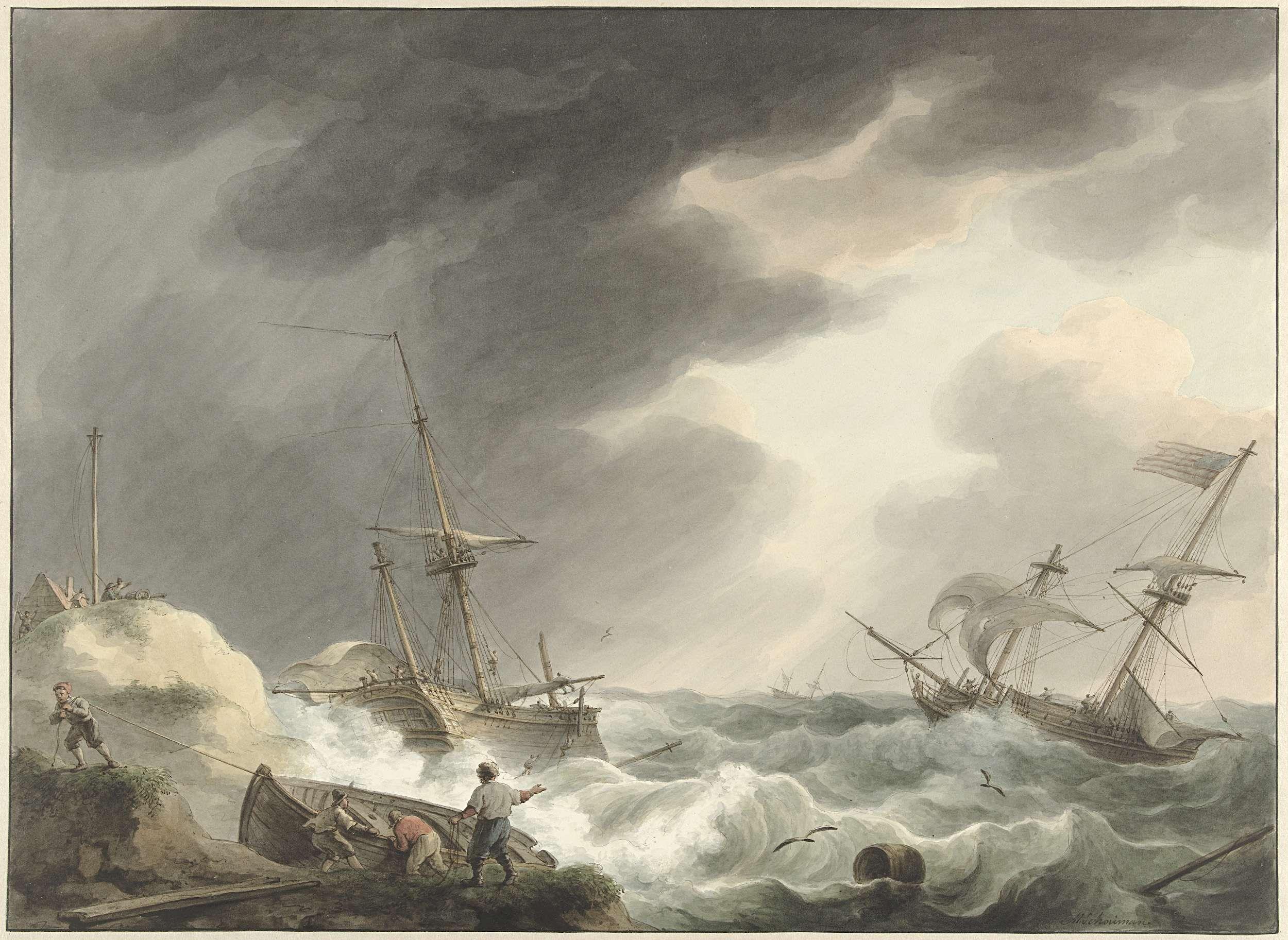Schipbreuk van twee schepen, waarvan één onder Amerikaanse vlag, op een…