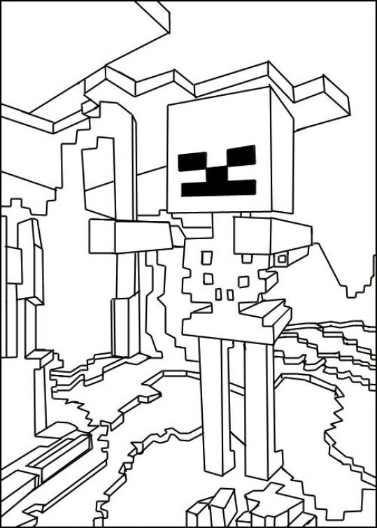 The Skeletons In Free Coloring Page Of Minecraft To Print For Kids