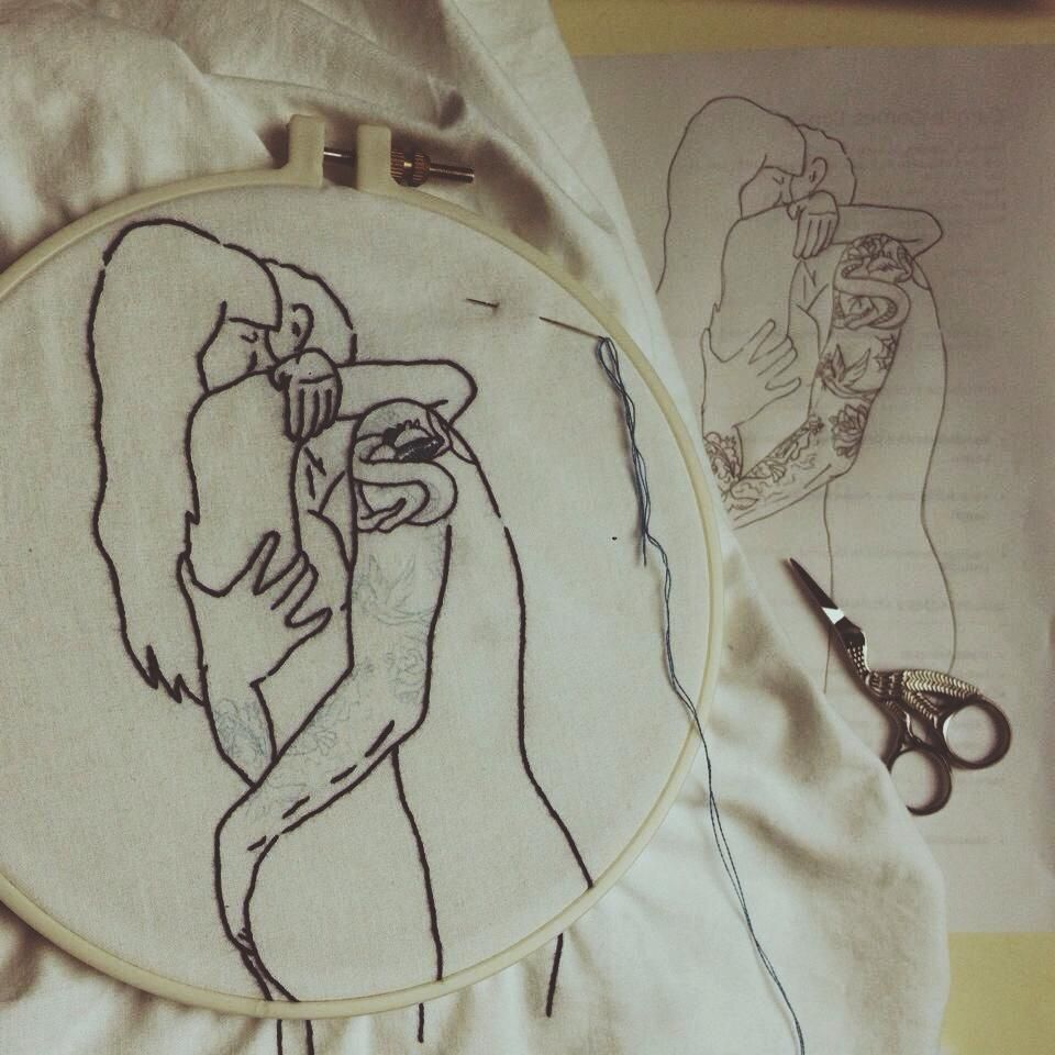 uterus porn embroidery - clube do bordado - porn - ink - tattoo - scissors - draw -