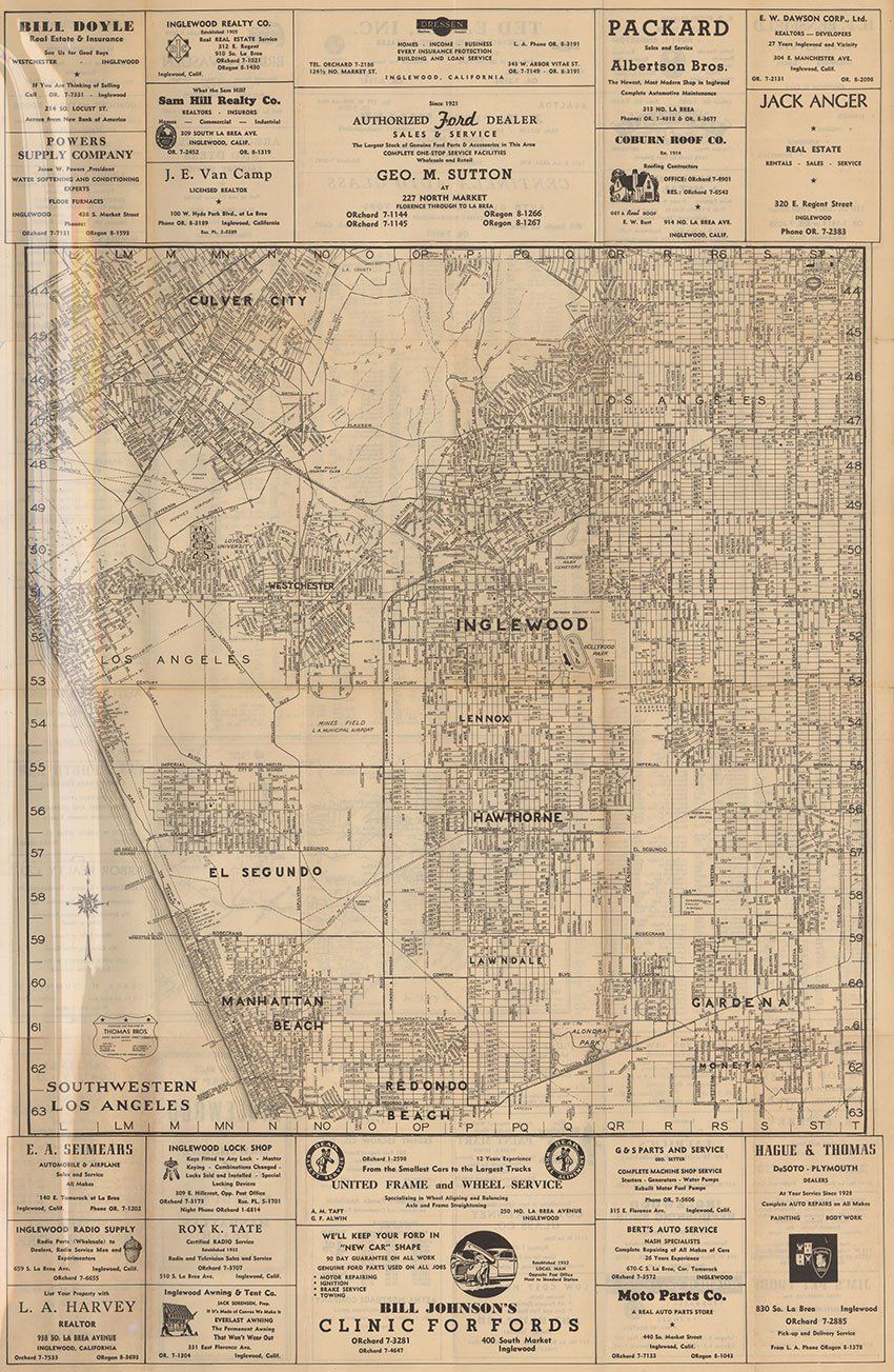 This Wall Map By The Thomas Brothers Covers The Area In And Around - Inglewood map