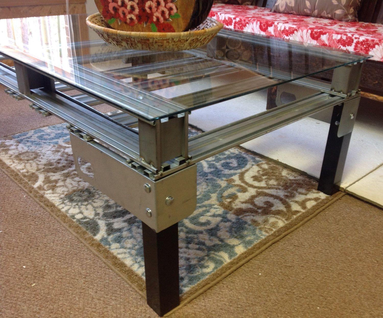 Metal industrial coffee table steel pallet glass table with metal industrial coffee table steel pallet glass table with black aluminum legs by freshlyvintagethings on geotapseo Gallery