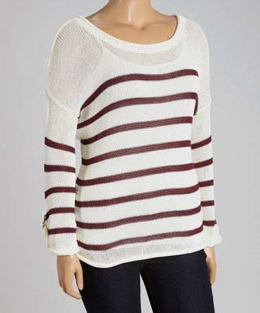 Mine Too Burgundy & White Stripe Sweater - Plus | Stripes ...