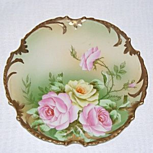 Hand painted and signed German porcelain cabinet plate with beautiful pink and yellow roses. & Hand painted and signed German porcelain cabinet plate with ...