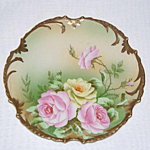 Vintage Purple Flowers Pink German Porcelain Flower Plate Yellow