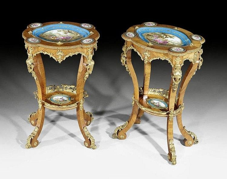 OVAL SALON TABLE WITH PORCELAIN PLAQUES, Louis XV STYLE, Paris circa 1880. Tulipwood in veneer inlaid with fine porcelain plaques in the style of Sevres. Gilt bronze mounts.