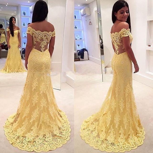 Neu Gelb Spitze Off Shoulder Brautkleider Hochzeitskleid Abendkleid ...