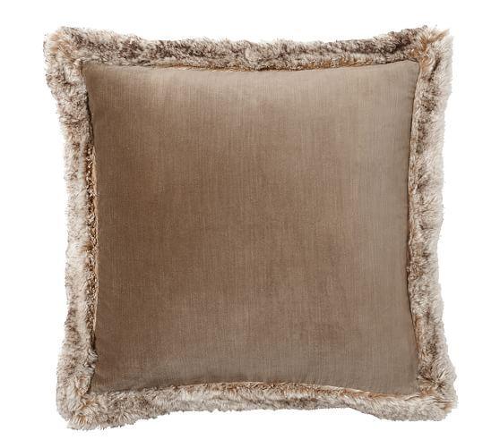Faux Fur Trim Velvet Pillow Covers Velvet Pillows
