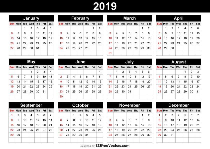 Editable Calendar 2019 2019 Calendar Pinterest Calendar