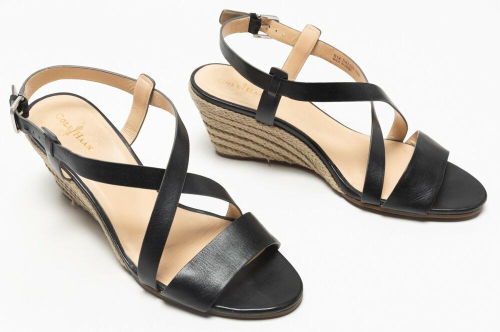 7fd3c55415ef (eBay Advertisement) Womens Cole Haan Black Taylor Sandals Espadrilles Wedge  Heels Shoes Size US