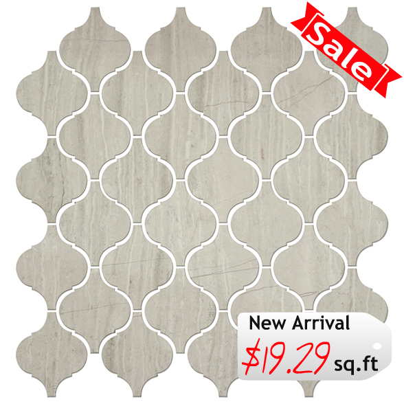 Discount Glass Tile Store - Stone Arabesque Tile - Wooden White Marble $19.29 sq.ft 12x12 Mosaic Mesh Mount Sheet, $19.29 (http://www.discountglasstilestore.com/stone-arabesque-tile-wooden-white-marble-19-29-sq-ft-12x12-mosaic-mesh-mount-sheet/)