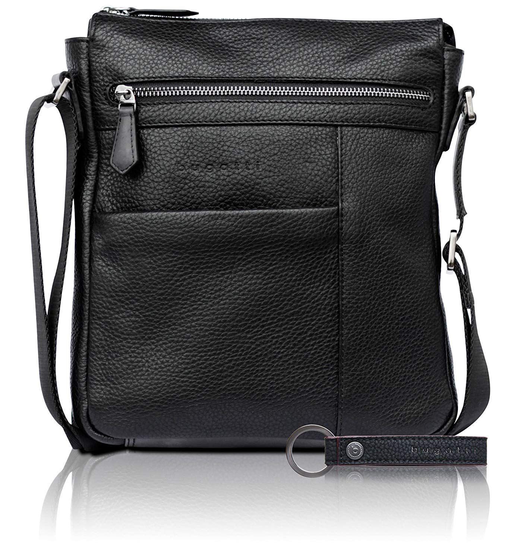 72cdeb5806 Bugatti Citta Sac à bandoulière en cuir véritable pour hommes - élégant sac  à bandoulière noir