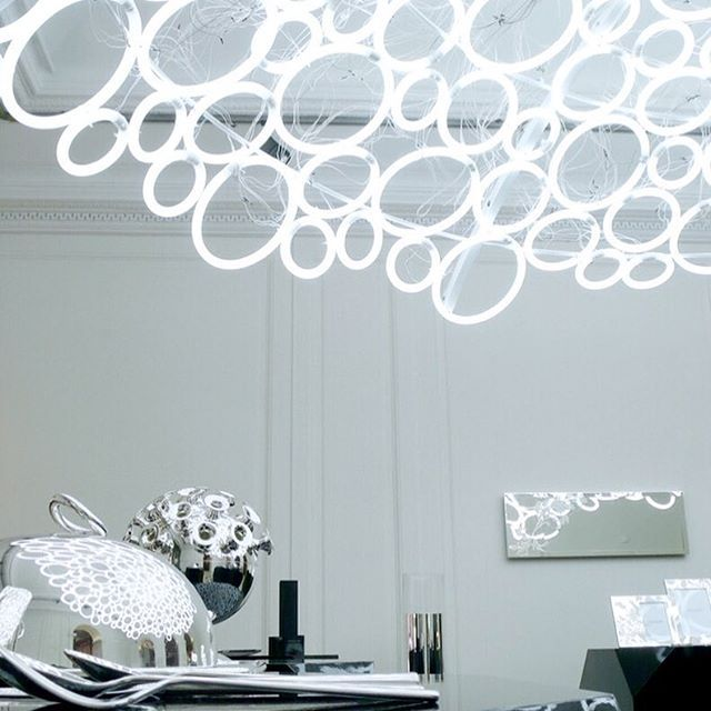 The day we electrified Christofle, Paris ! #designbymathieulehanneur #christofle #paris #light #design #interiordesign #chandelier #neon #instalation #daylight #dome #silverware @christofle