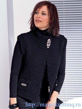 женский жилет спицами с описанием вязание спицы вязаный жилет