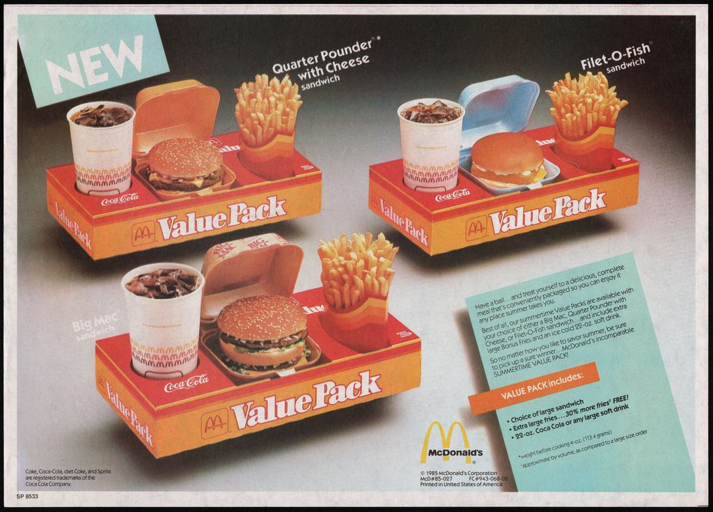 Mcdonalds Trayliner Placemat New Value Packs Meals 1985 Mcdonalds Vintage Menu Vintage Recipes
