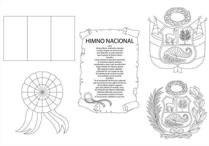 Símbolos patrios Perú para colorear | Primaria 1er. Ciclo ...