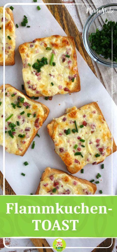 Rezept für Flammkuchen Toast mit Creme Fraich, Speck und Zwiebeln Rezept für Flammkuchen Toast mit Creme Fraich, Speck und Zwiebeln