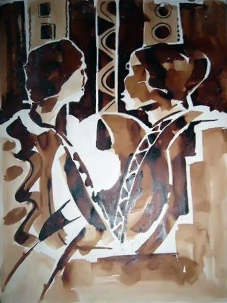 African Oil painting: Two heads thinking    An oil brown painting depicting two men in council. Symbol of traditional communalness and fraternity. Great as a gift or souvenir.
