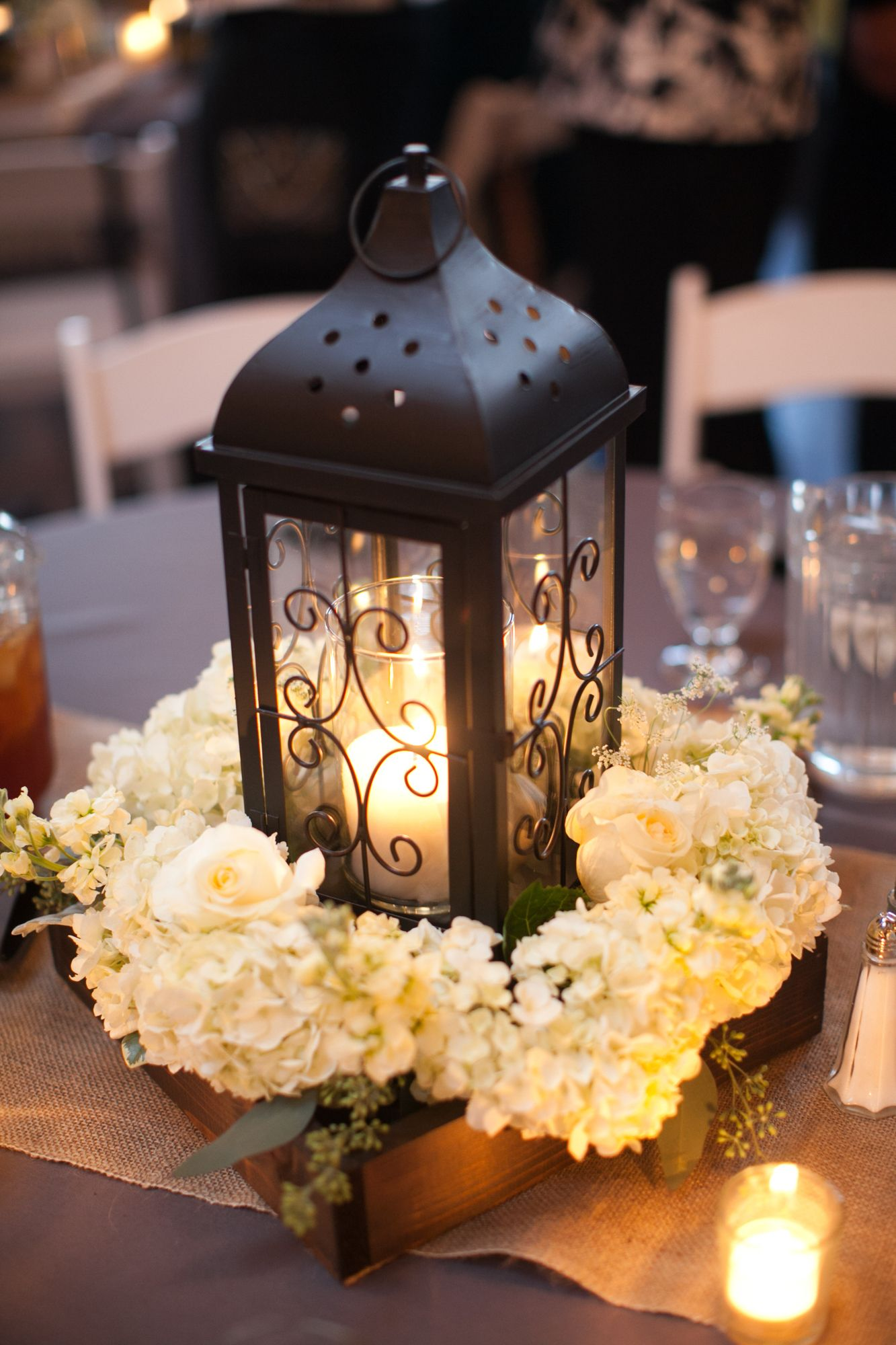 black lantern and white hydrangea centerpiece wedding. Black Bedroom Furniture Sets. Home Design Ideas