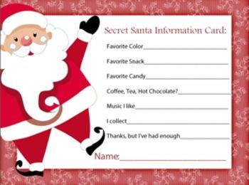 secret santa information sheet secret santa secret santa gifts and santa gifts. Black Bedroom Furniture Sets. Home Design Ideas