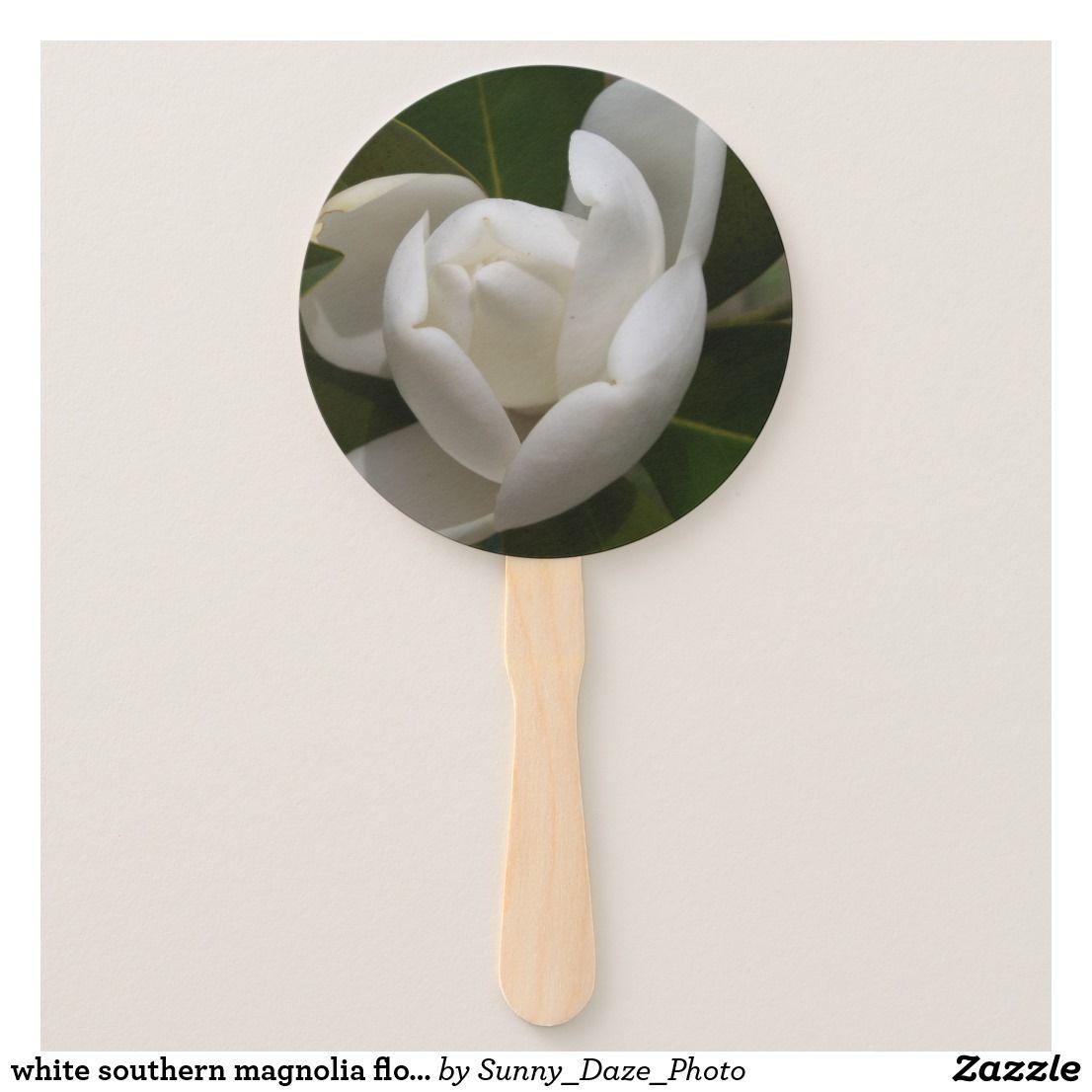 White Southern Magnolia Flower Bud Hand Fan Zazzle Com Magnolia Flower Flower Bud Southern Magnolia