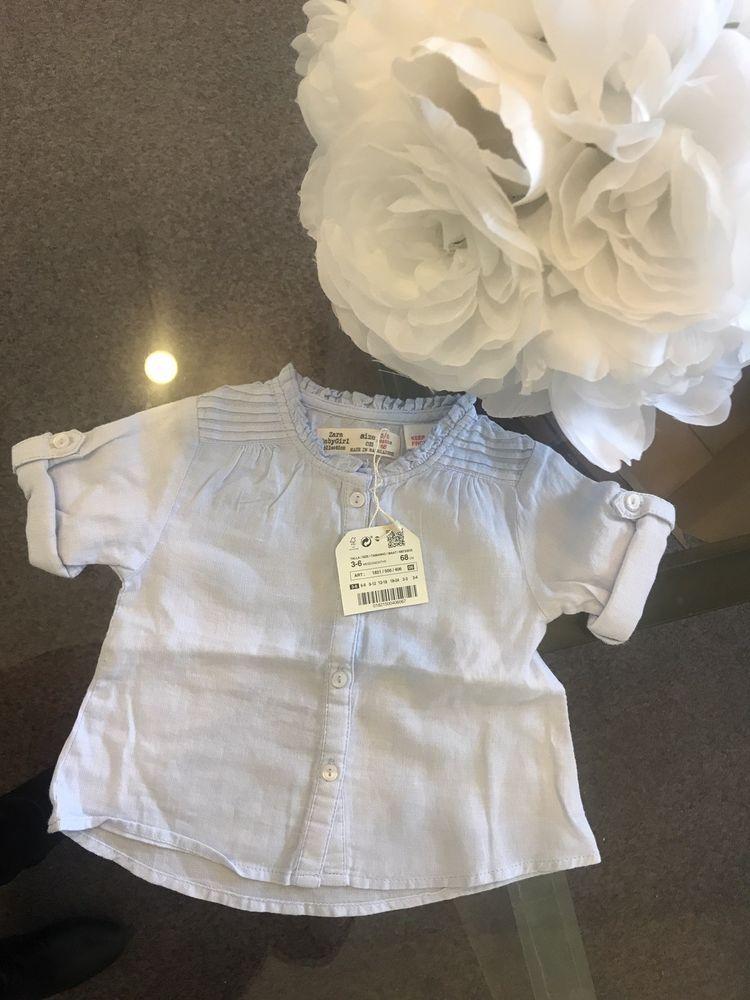 d537fdd8c Zara Baby Girls White Blue Striped size 3-6 months Orig. 44 BNWT ...