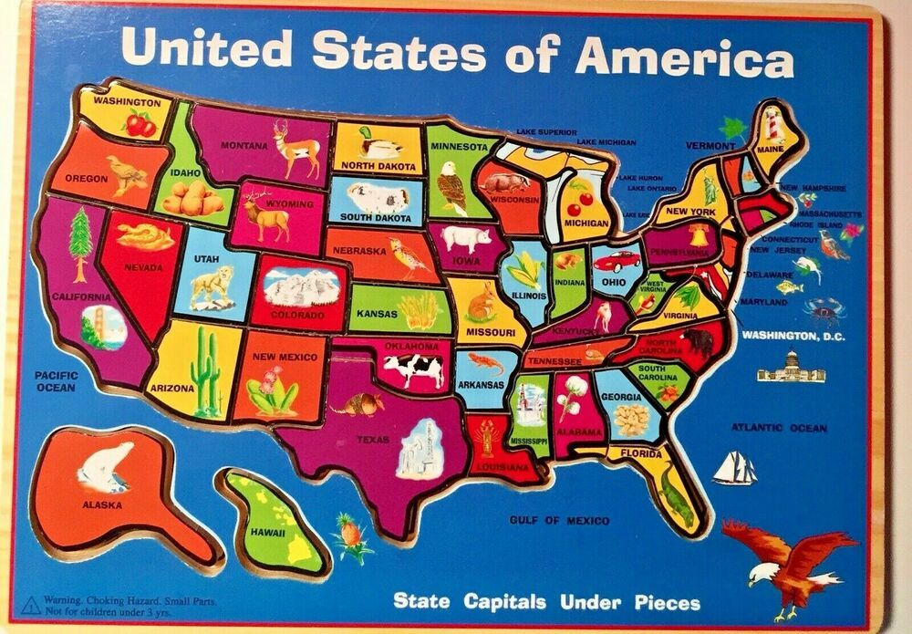 Wooden United States of America Map Puzzle State Capitals 45 ...
