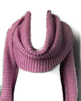 Knitting Pattern For Scarf With Sleeves : Basic Shrug Cowl Sciarpone Scarf With Sleeves PDF Knitting Pattern Can Be Ada...
