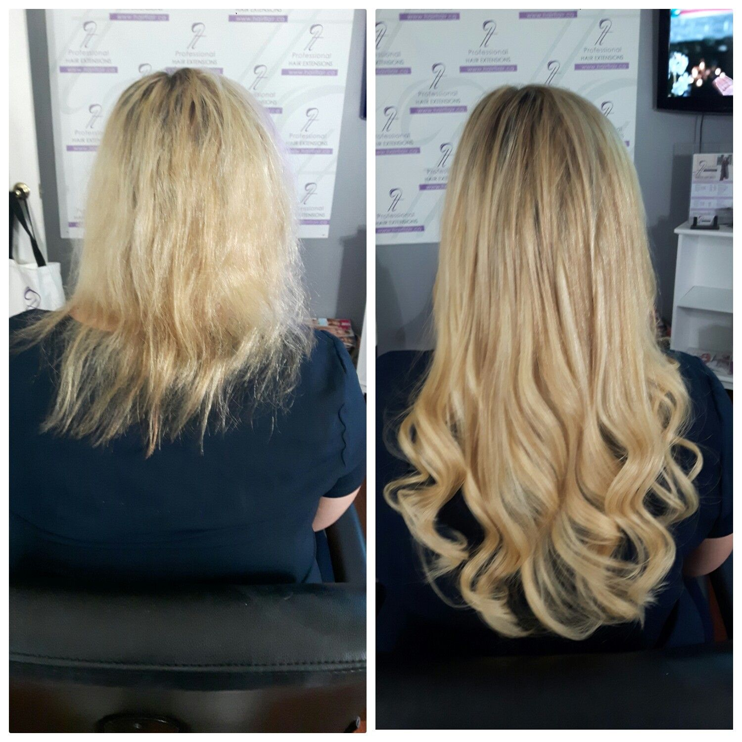 Before And After 3 Bundles Of 20 Inch Of Premium Nano Extensions
