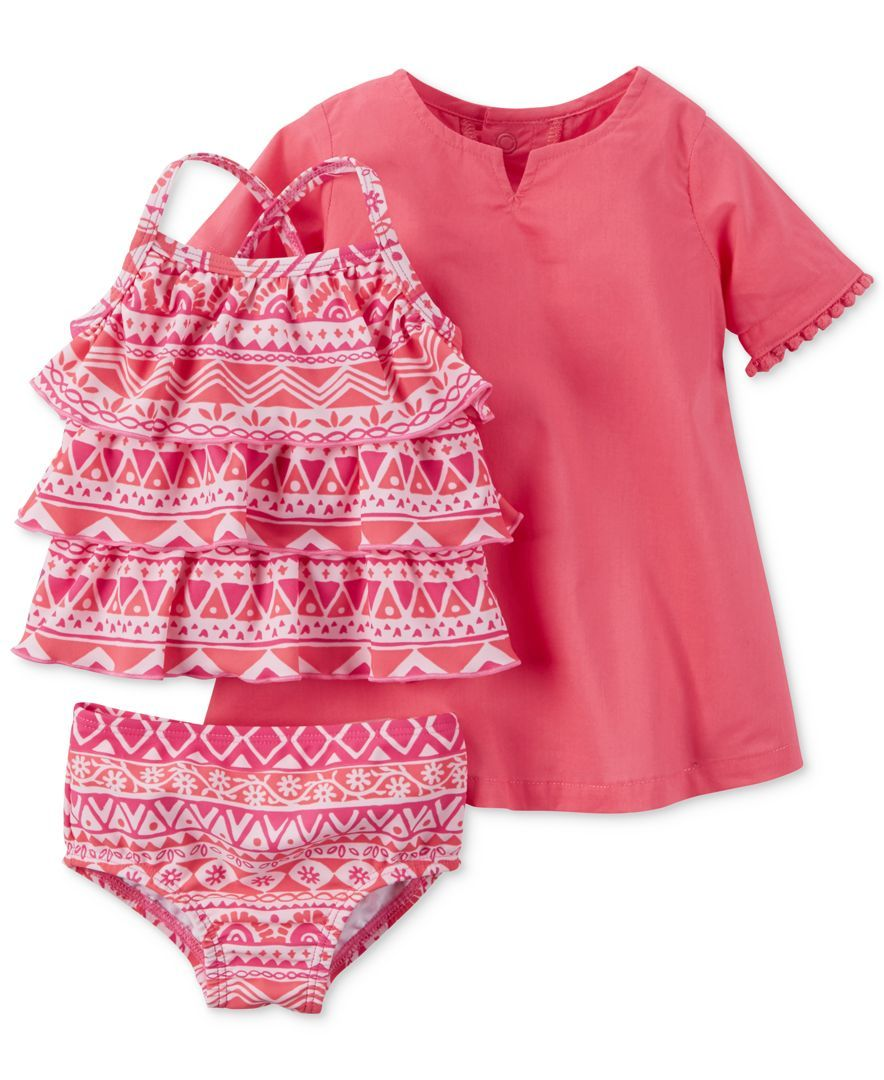 3163dae94b Carter s Baby Girls  3-Piece Swimsuit   Cover-Up Set