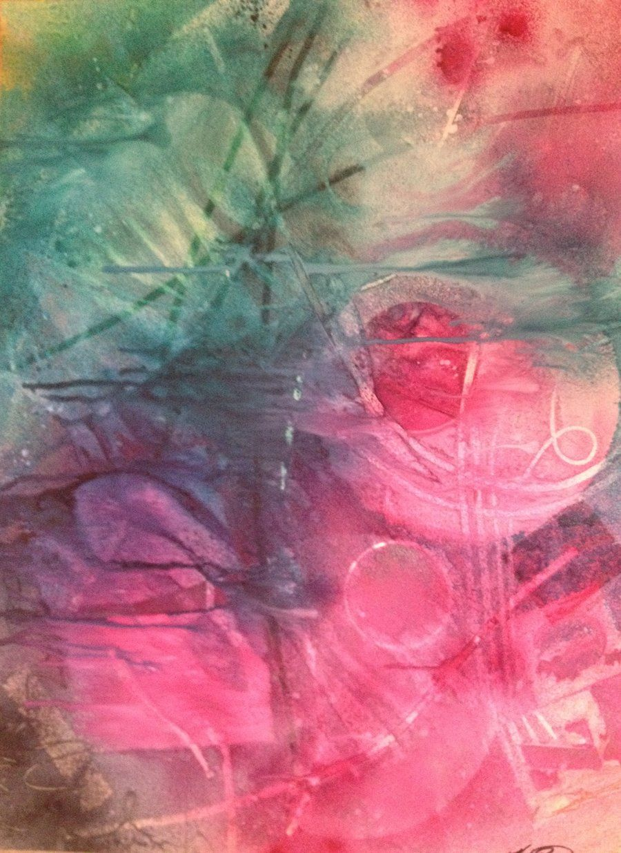 Abstract watercolor....I'd hang it on my wall. I like the colors.