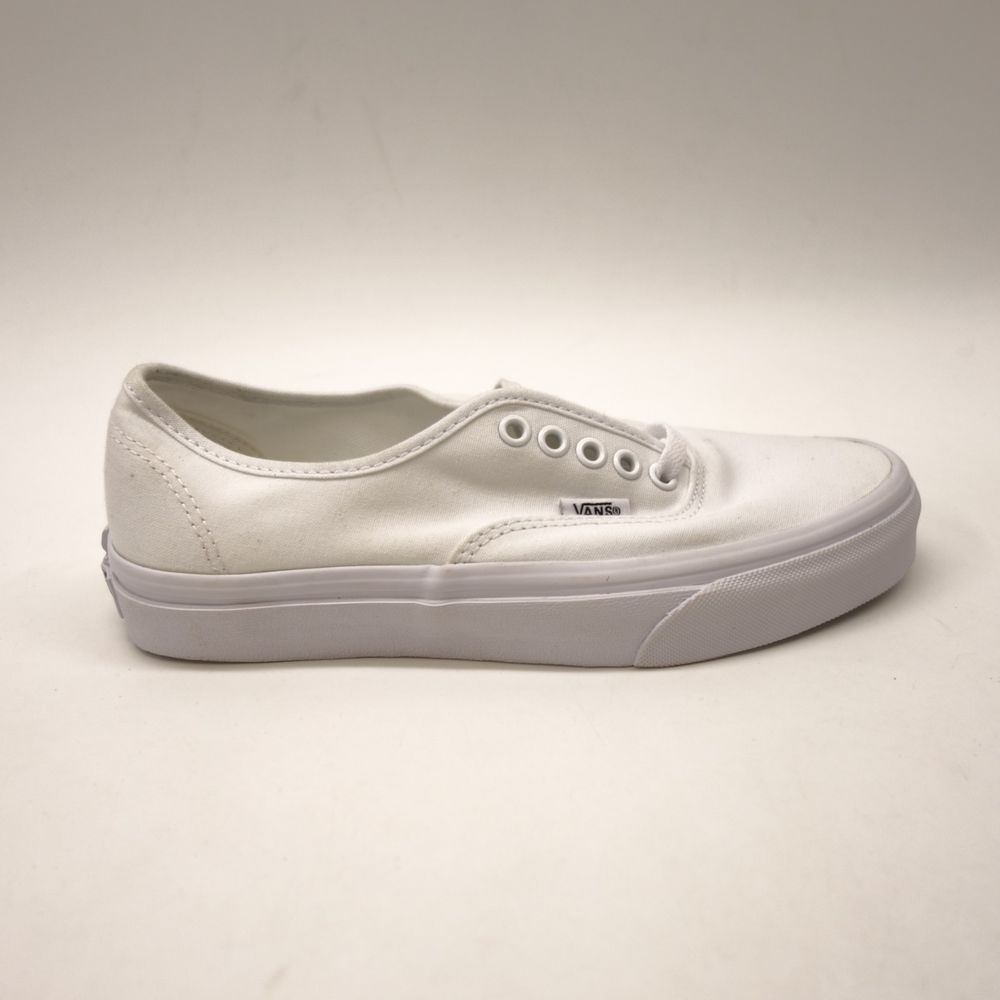 4d04cf9613b6d6 Vans Womens True Solid White Classic Canvas Casual Lace Up Sneaker Shoes 8   VANS  LowTop
