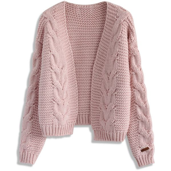 Chicwish Sun Daze Cable Knit Cardigan in Pink (16.525 HUF) ❤ liked on Polyvore  featuring tops b56d7ce50