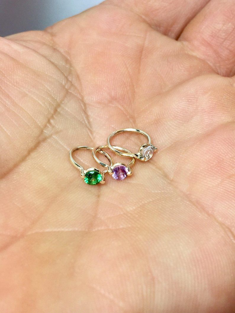 14k 10k Solid Gold Baby Ring Birthstone Ring Charms 14k Tiny Baby Rings Gifts For Mom Baby Jewelry Newborn Gold Jewelry With Images Baby Rings Baby Gold Rings Ring Gift