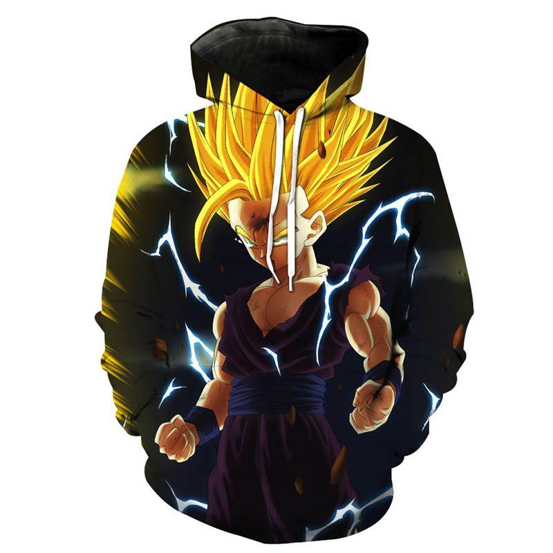 Mais novo Anime Hoodies Camisolas De Dragon Ball Z Super Saiyan Goku Vegeta  Capuz crewneck Pullovers 1bae32a4b42