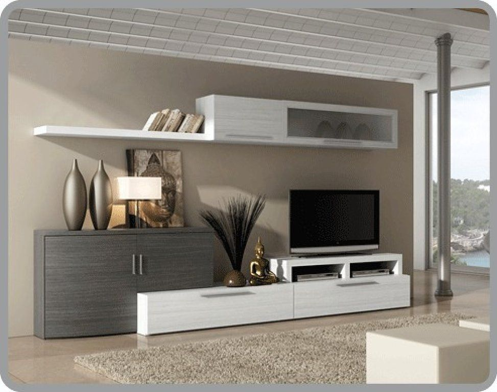 Mueble tv for the home pinterest tvs tv walls and for Muebles salon gris ceniza y blanco