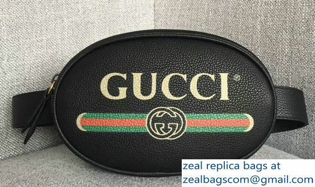 5d5fb1065949c9 Gucci Print Leather Vintage Logo Small Belt Bag 527792 Black 2018 ...