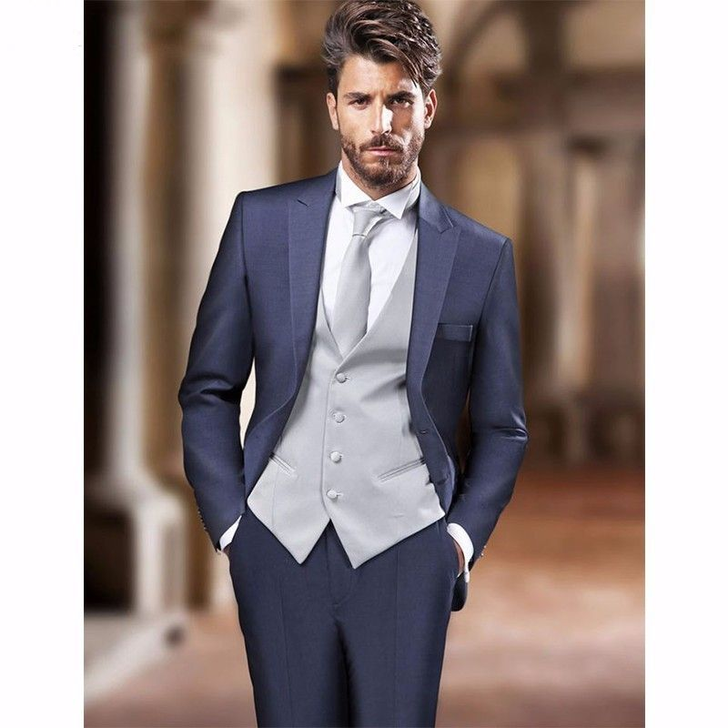 Click to Buy << New Arrival Navy Blue Mens Dinner Party Prom Suits ...