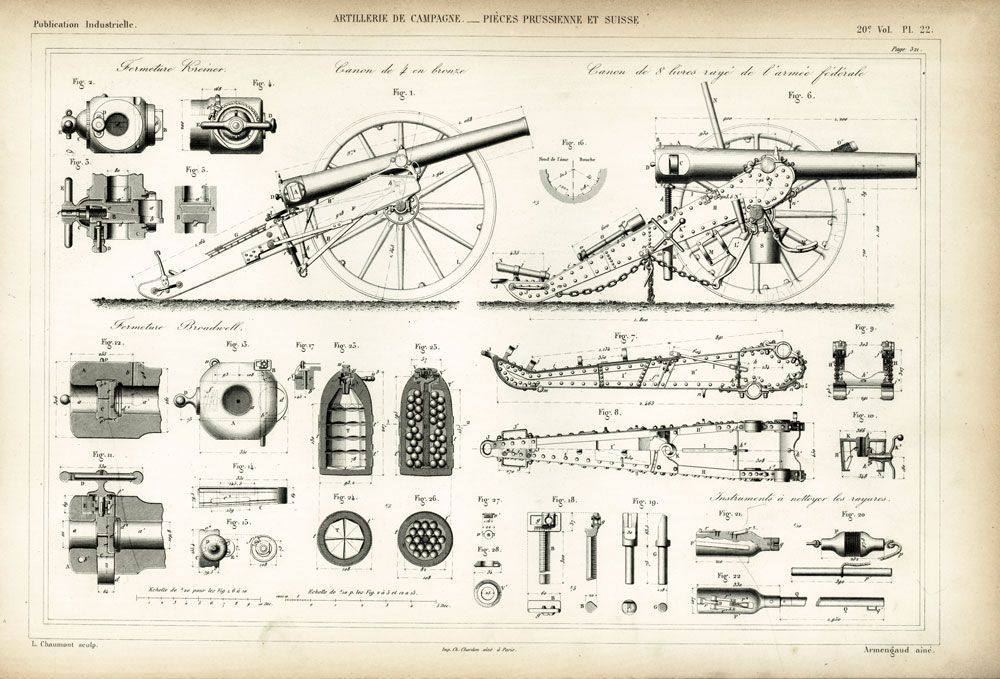 1872 plan d 39 un canon artillerie de campagne arm e suisse et prussienne boulet obus plan. Black Bedroom Furniture Sets. Home Design Ideas